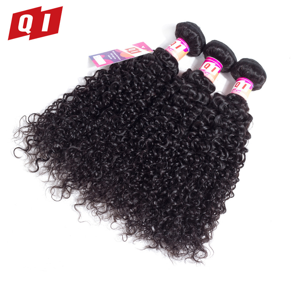 Brave Qi Hair Malaysian 100% Human Hair Kinky Curly 3 Bundles Natural Color Non Remy Human Hair Extensions Free Shipping High Standard In Quality And Hygiene Human Hair Weaves