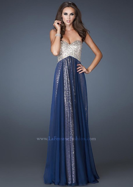2014 New Design Sweetheart Gold Sequin Navy Blue White Champagne