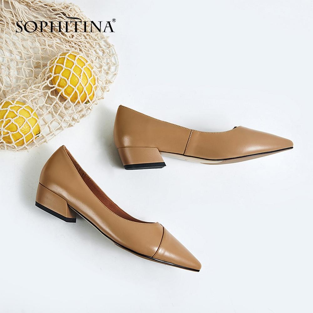 Sapatos de Couro Genuíno de Alta Sophitina Moda Sólido Deslizamento-em Bombas Sexy Apontou Toe Qualidade Venda Quente Femininas Casuais So123