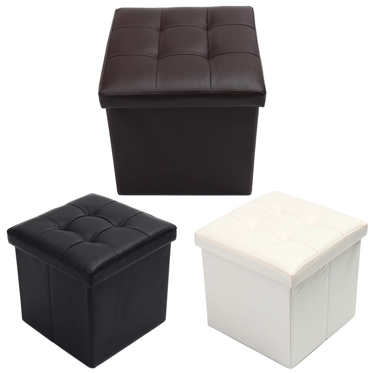 Folding Leather Footstool Sofa Ottoman Footrest Seat Lounge Imitation Leather Footstool Home Room Storage Box Chair 38x38x38cm