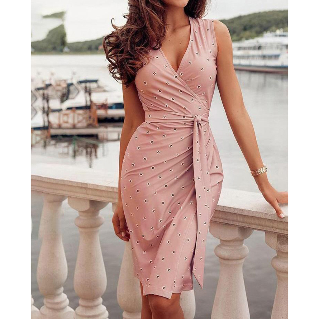 2020 party dresses Women's Casual office summer sexy dress Sleeveless Bandage Casual Printed Guest midi Dress vestidos