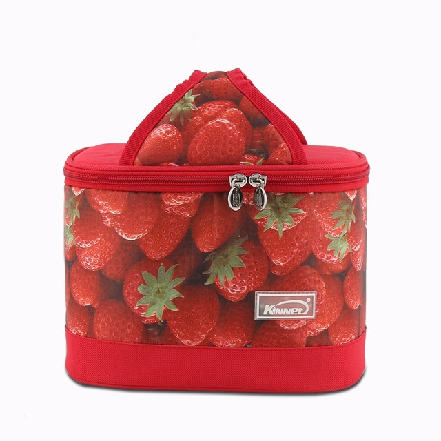 Women Fashion Strawberry Durable Cooler Storage Bag Large Capacity Neoprene Lunch Bag Carry Cold Grocery Snack Picnic Handbag