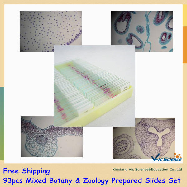 Free Shipping 93pcs Mixed Botany & Zoology Prepared Slides Set fixed set teaching resources university students study 78pieces medical parasite prepared microscope slides