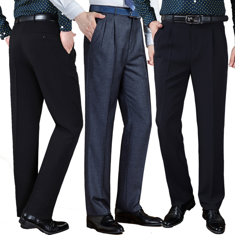 Autumn Winter Thick Double Pleated Dress Trousers Men High Waist Loose Business Casual Suit Trousers Middle-aged Mens Suit Pants