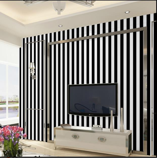 Black and white striped waterproof wallpaper self - adhesive wall stickers bedroom living room background wall paper PVC-43