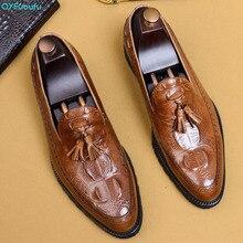 QYFCIOUFU Genuine Leather Tassel Men Formal Shoes Top Quality Cow Oxfords Crocodile Pattern Business Dress US 11.5