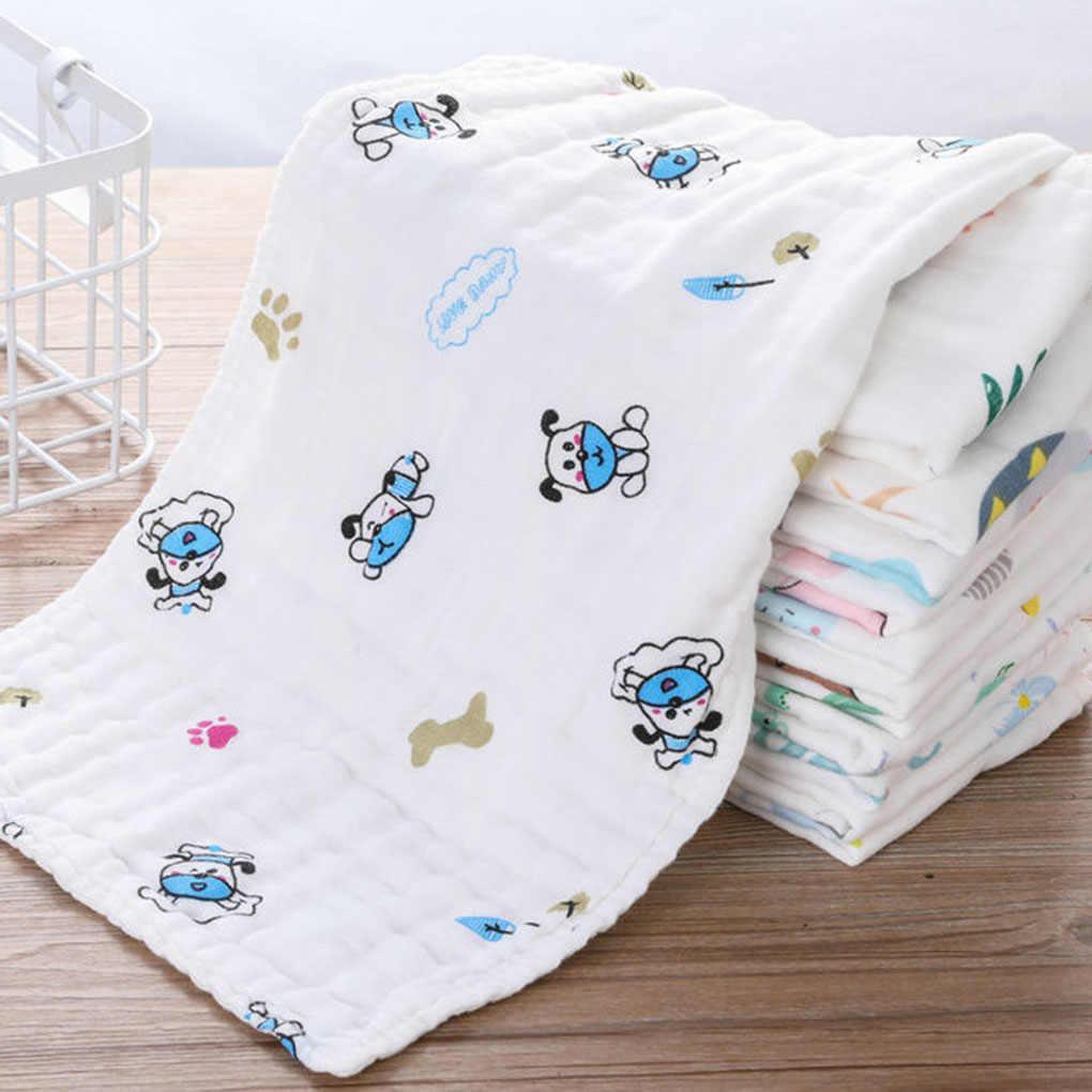 Nuevo patrón al azar diseño de dibujos animados bebé niño suave Drool toalla 6 capas algodón bebé Baberos Unisex tela Saliva 25X50 cm