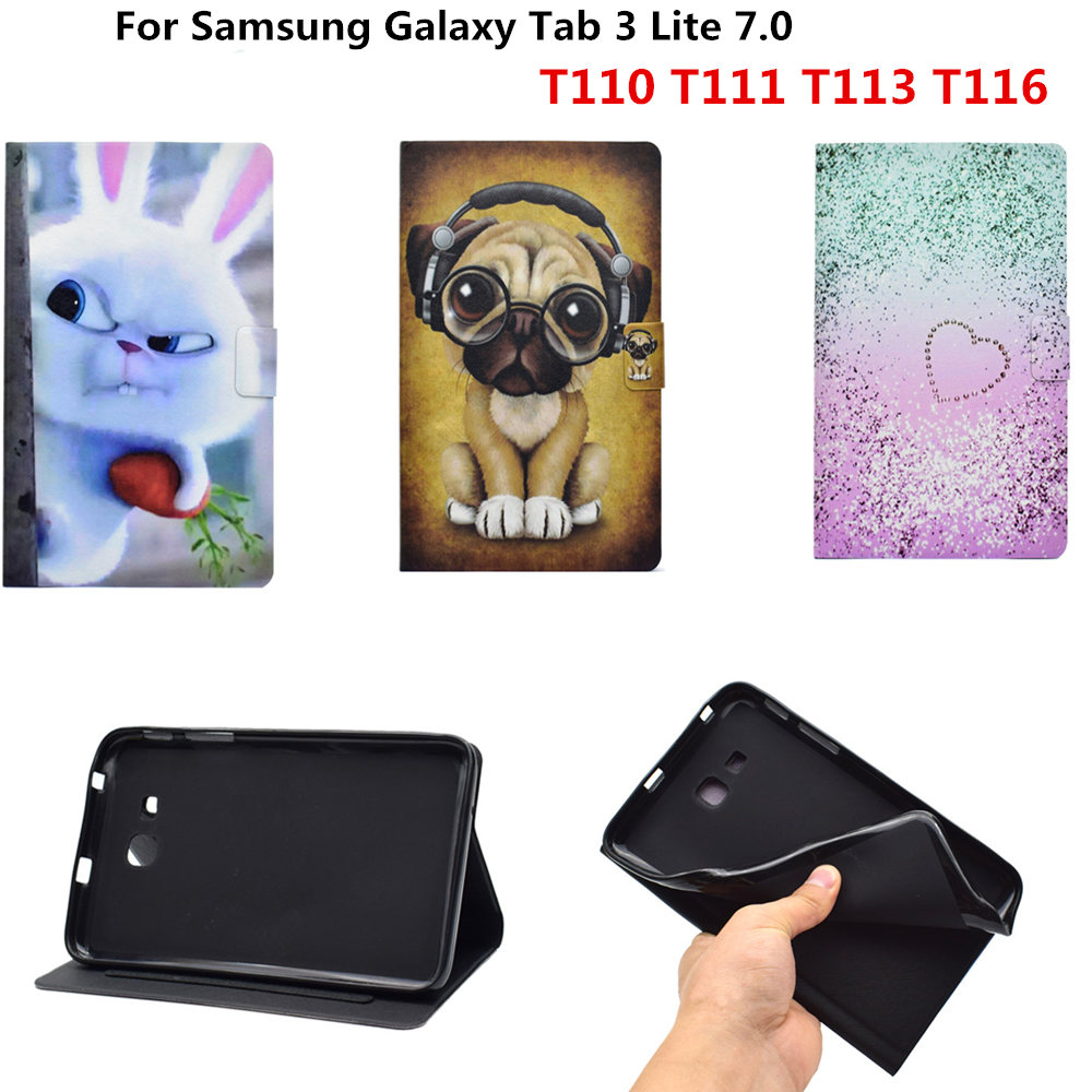 PU Leather Case for Samsung Galaxy Tab 3 Lite 7.0 inch T110 T111 T113 T116 Kids Cute Soft Silicon TPU Back Case Shockproof Cover