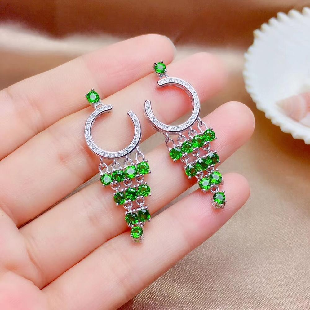 Super beautiful earrings, 925 silver inlay, luxury design, natural gems, diopside.-in Pendants from Jewelry & Accessories    1