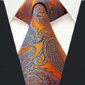 U26 orange floral amarelo azul dos homens gravatas gravatas 100% seda jacquard tecido Nova Marca lenço Extra Longo Tamanho Laços de Casamento para homens