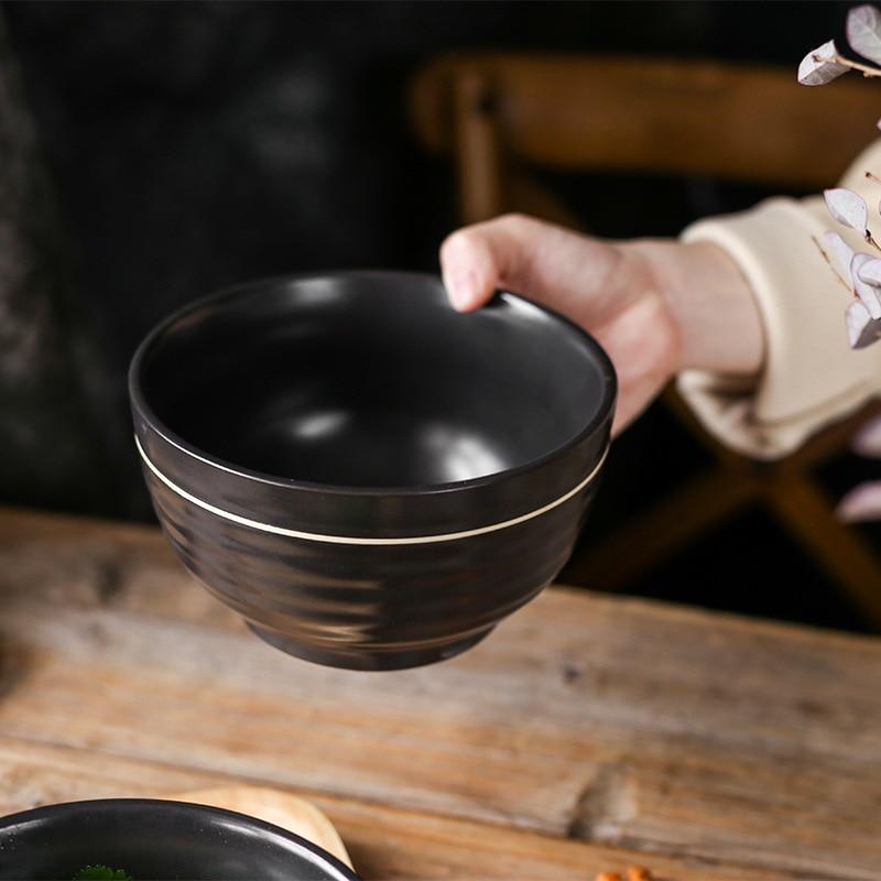 1 pair Black Ceramic Dinner Bowl Golden line Rice Bowl Round Soup Noodle Bowl Breakfast Kitchen Dinnerware Gift Box