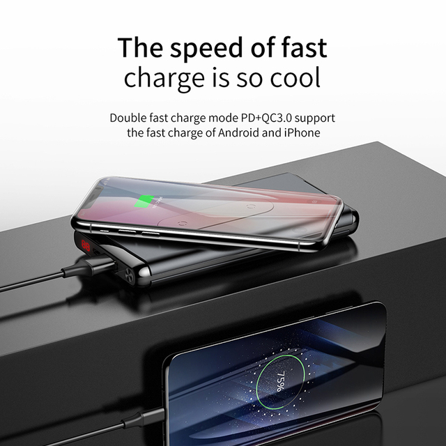 Baseus 10000mAh QI Wireless Charger Power Bank For iPhone Samsung PD + QC3.0 Fast Charging USB Powerbank External Battery Pack 3