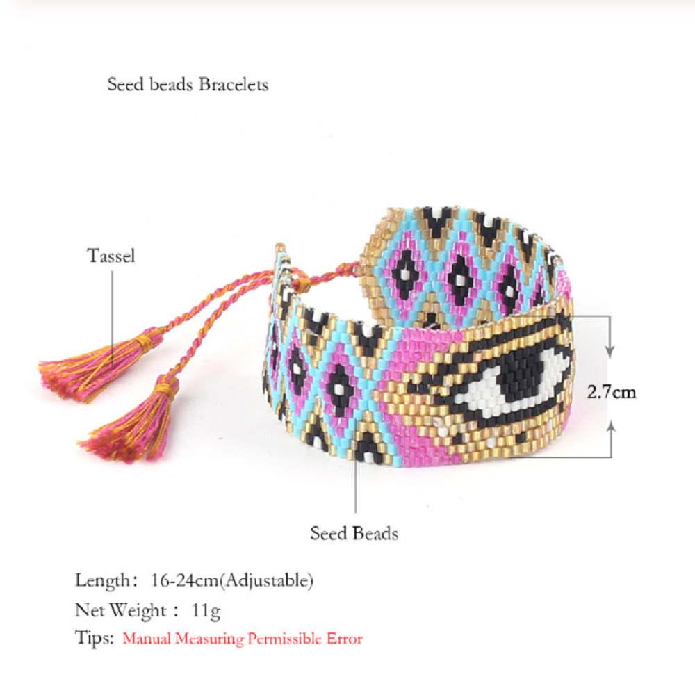 Shinus MIYUKI Jewelry Set Miyuki Evil Eye Bracelet Necklace Pendant 2019 Women Turkish Evil Eye Jewelry Set Delica Beads Tassel in Jewelry Sets from Jewelry Accessories
