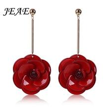 JEAE 2017 New Statement bijoux 4 Color Acrylic Flower Long Drop Earrings for Women Wedding Jewelry Accessories Love Earring Gift