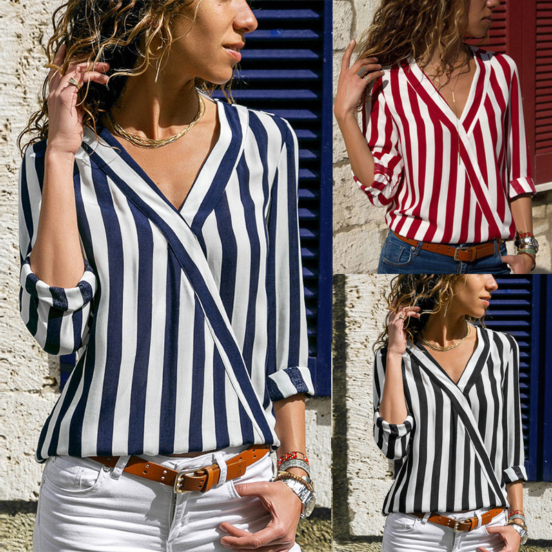 Women Clothing Striped White Blouse Long Sleeve Shirts V-Neck Chiffon Loose Full Blouses 2019 Summer New Black Blue Red 3xl