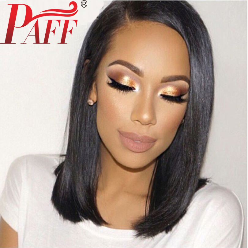 Peruvian Straight Lace Front Human Hair Wigs With Side Part Remy Hair Natural Color Pre Plucked Short Bob Wig With Natural Hair