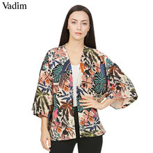 Vadim vrouwen vintage bloemen losse kimono shirts oversized open stitch jas dames Europese stijl casual mode tops CT1461(China)