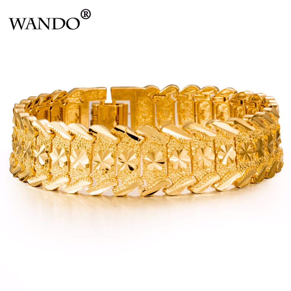wando High quality Dubai Men's Bracelet 24K Gold Color Width 15mm Bangle Women Hiphop Hand Chain Ethiopian/African Jewelry wb1