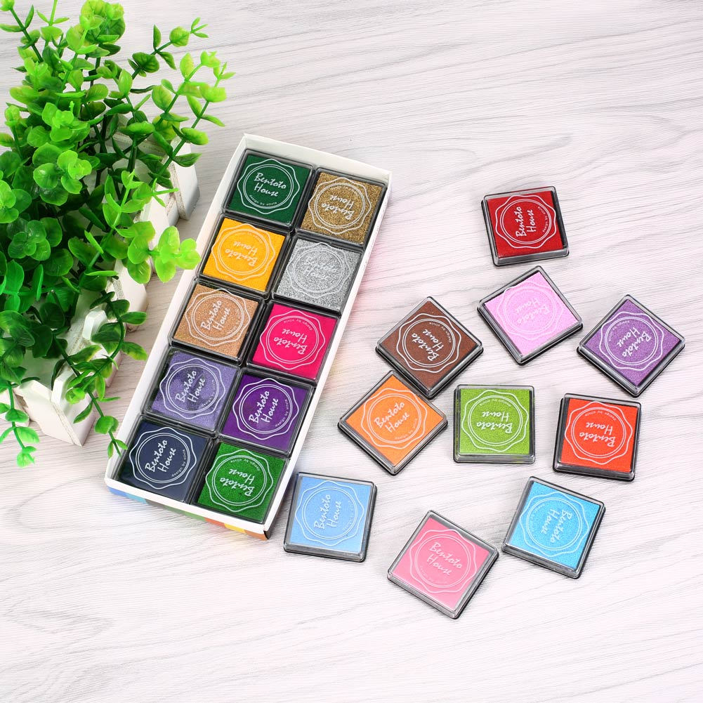 New 20pcs Colorful DIY Craft Finger Print Ink Pad Inkpad Rubber Stamps Inkpads Ink & Pads Toys Kids Games Accessories tri fidget hand spinner triangle metal finger focus toy adhd autism kids adult toys finger spinner toys gags