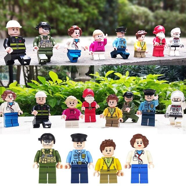 8 Pcs/lot Mini Blok Bangunan Merek Yang Kompatibel Teman Angka Set Santa Claus Perawat Dokter Figura Polisi Kota Mainan untuk Anak