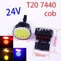 1X W21W T20 auto levou cob 7440 led Car parar Backup Reversa sinal de luz Traseira Frente Levou Xenon Branco Vermelho azul amarelo DC 24 V