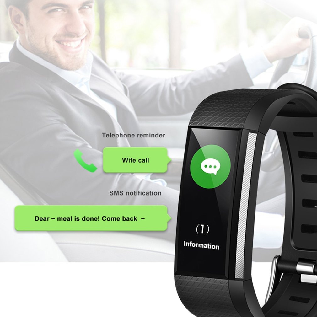 Outdoor Fitness Tracker Pedometers Color Screen Smart Bracelet Sport Band Heart Rate/Blood Pressure Monitor Waterproof Wristband
