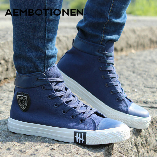 Men Casual Shoes Breathable Black High-top Lace-up Canvas Shoes Espadrilles Fashion White Men's Flats