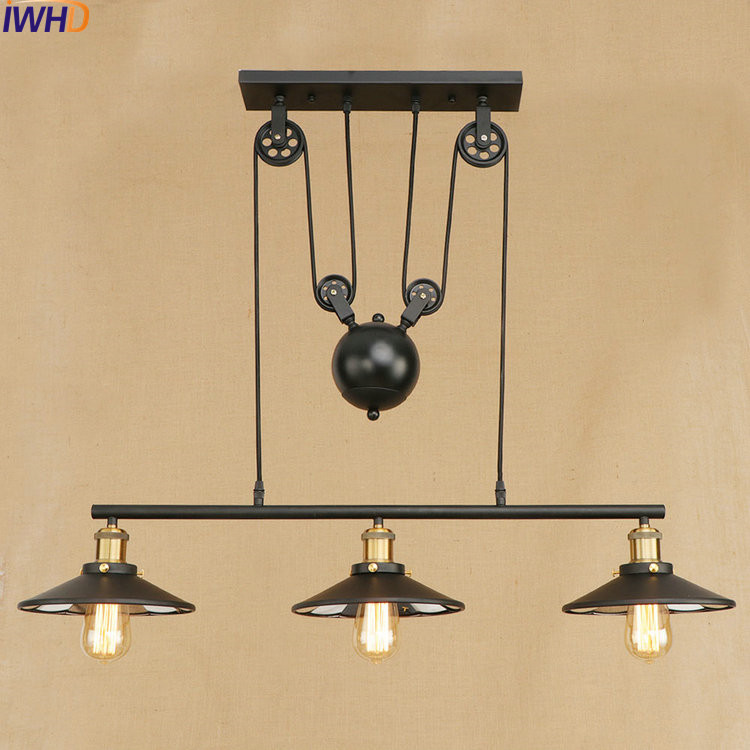 IWHD Loft Style Iron Lift Droplight Edison LED Pendant Lights Fixtures Vintage Industrial Lighting Indoor Mirror Hanging Lamp edison inustrial loft vintage amber glass basin pendant lights lamp for cafe bar hall bedroom club dining room droplight decor