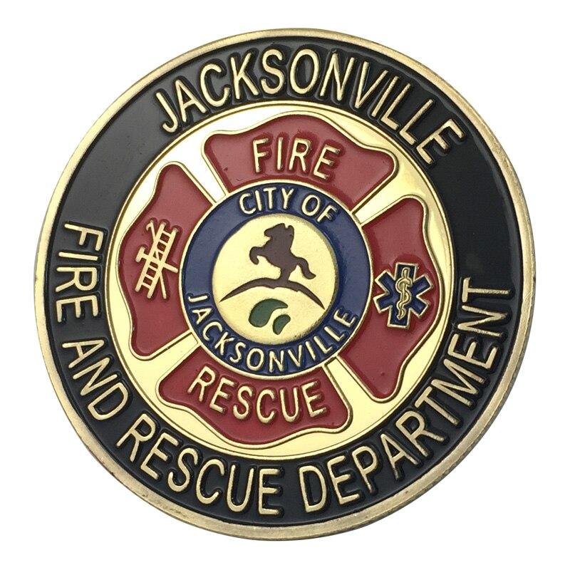 Вся поставка золотое покрытие города джексонвилла пожарный отдел наградная монета/медаль 1340