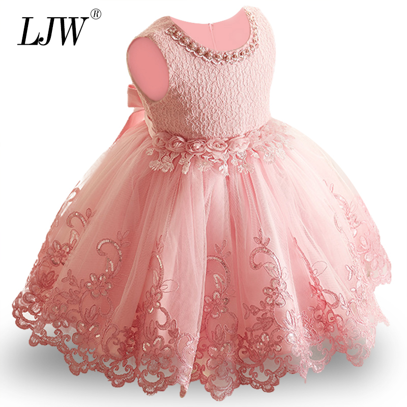 LJW 2019 Lace 9M-24M 1 Years Baby Girls Dresses Vestido
