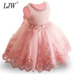 2019 novo laço vestido da menina do bebê 9 m-24 m 1 anos bebê meninas vestidos de aniversário vestido de festa de aniversário princesa