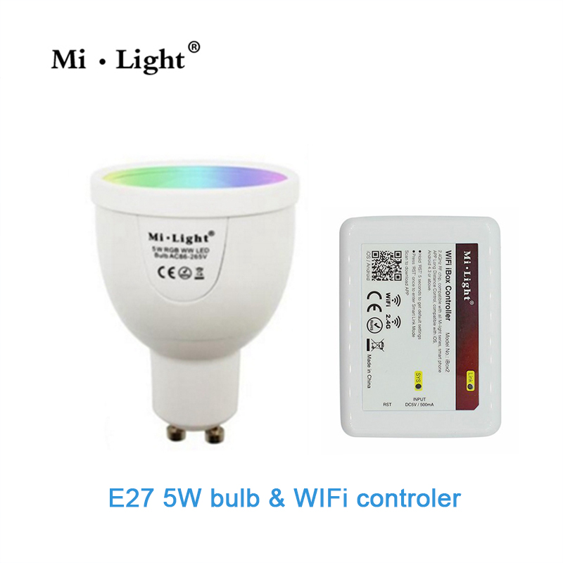 GU10 5W RGBW Lamp 85-265V LED Milight RGB Bulb Spotlight light Wireless WiFi Remote Controller Box For Party Lighting milight 5w gu10 dual color temperature led bulb spotlight without remote