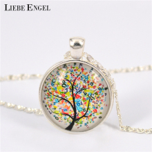 LIEBE ENGEL Vintage Life Tree Necklace Fashion Glass Cabochons Statement Necklace Silver Color Jewelry for Women Gift Sweater