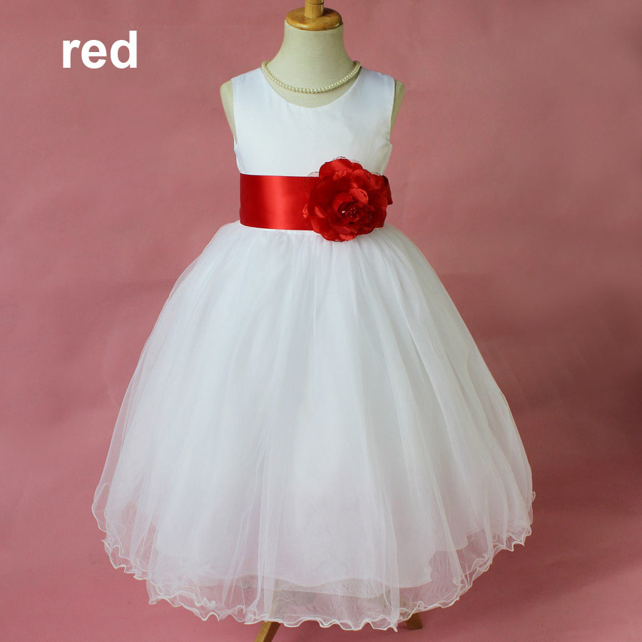 Fashion sleeveless white and red party wear kids party for Short red and white wedding dresses