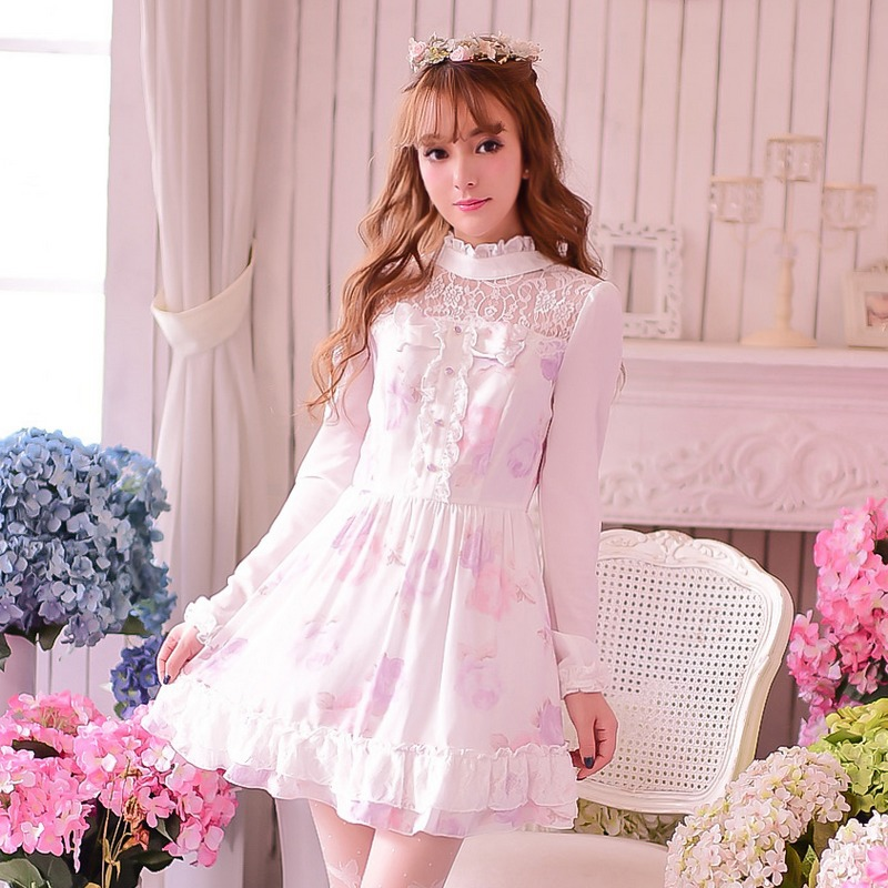 Princess Sweet Lolita Dress Candy Rain Sweet Princess Japanese Style Stand Collar Lace Long