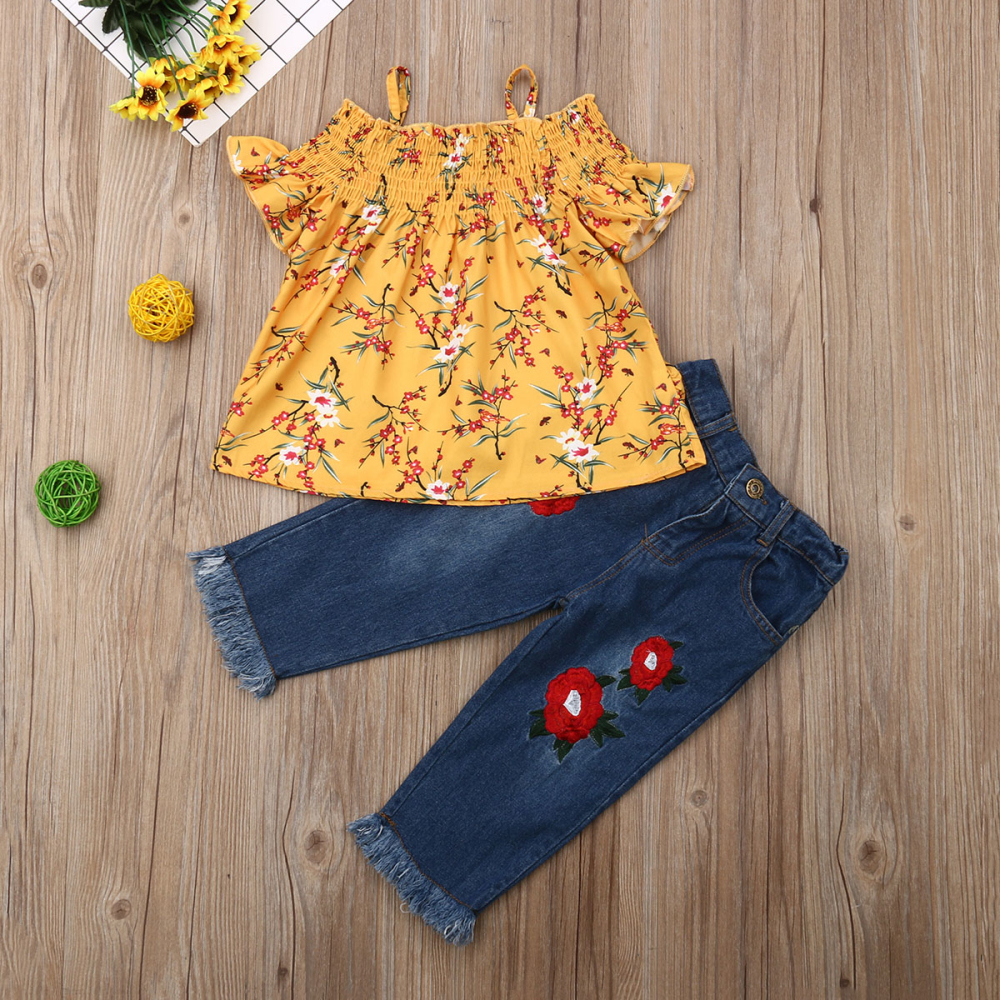 youeneom Toddler Kids Baby Girls Outfits Flower Rose Off Shoulder Tops Denim Shorts with Belt Short Pants Clothes Set