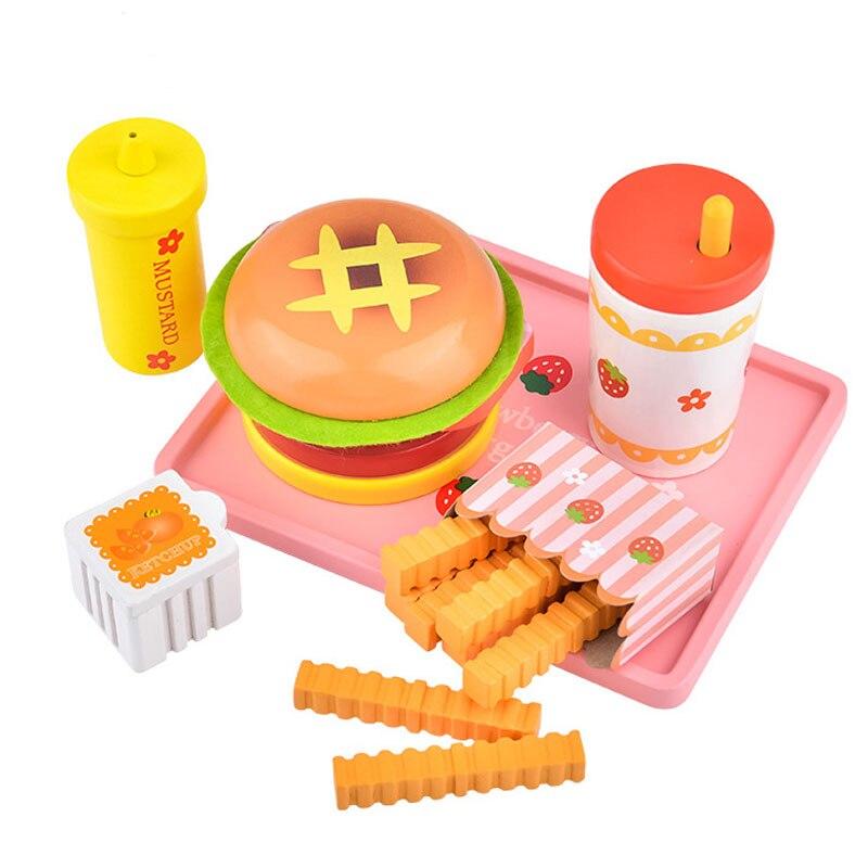 Wooden Pretend Play Kitchen Toys Simulation Fast Hamburger Chicken Food Set Gift