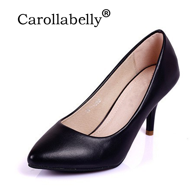 2017 Women 7Cm Mid High Heel Patent Leather Women Pumps Pointed Toe Office Work Nude -5980