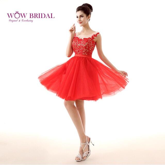 2135dcb18 Wowbridal Rojo de Encaje Cortos Vestidos de Fiesta 2016 Nuevo Cremallera  Volver Scoop Secundaria Lindo octavo