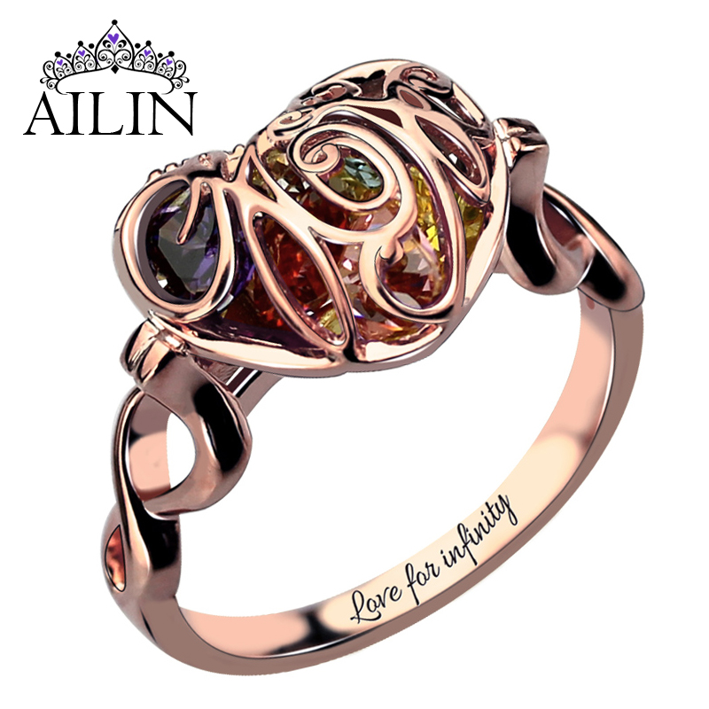 Aliexpress Com Buy Caged Heart Mother S Birthstone Ring