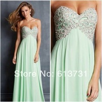 2014 New Hot & Sexy Princess Sweetheart Chiffon Mint Green Long Sparkle Crystal Embellished Prom Dresses For Special Occasion