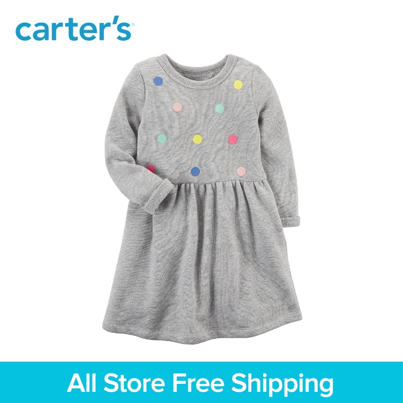 цена на Carter's 1-Piece baby children kids clothing Girl Long-Sleeve French Terry Dress 251G517