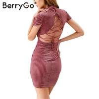 BerryGo Corduroy Lace Up Vintage Dress Women Sexy Backless Party Dresses Women Elegant Evening Dress 2017