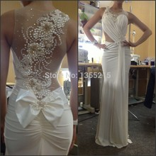 Wholesale Custom Made 2014 White Mermaid Evening Dress with Pearls Gown Prom Dresses Party Vestidos Para Festa
