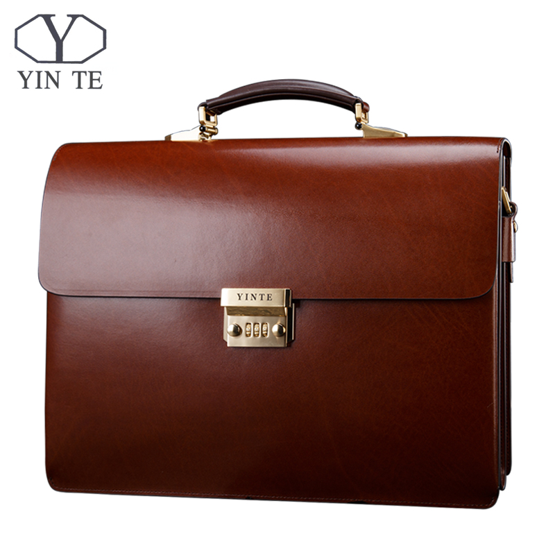 YINTE Leather Men's Briefcase Leather Business Bag Men's Laptop Bag Lawyer Handbag Document Thicker Men Totes Portfolio T8191-6