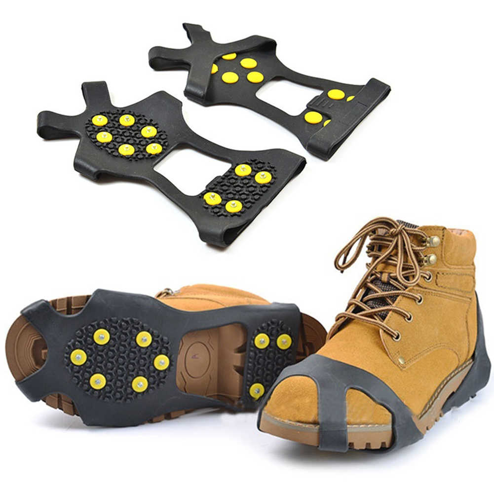 c09be67eeb9 ... 10-Studs Anti-Slip Ice Snow Grips Shoe Boot Traction Cleat Spikes  Crampon Ice ...