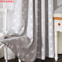 Popangel New Modern High Quality Thermal Insulated Gray Blackout Living Room Window Curtains Heart Jacquard Linen Blue Curtain