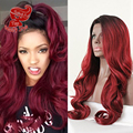 Ombre Burgundy Synthetic Lace Front Wig Two Tone Color Hair Wigs Long Body Wave Wigs For Black Women