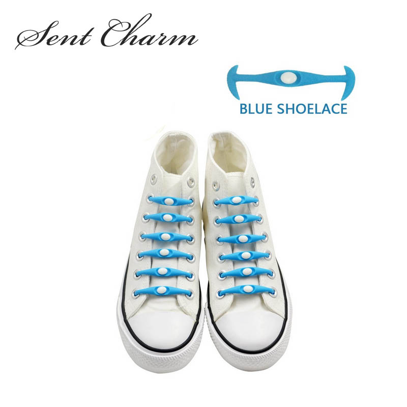 SENTCHARM Novelty No Tie Silicone Flexible Shoelaces For Adult And Kids Blue Shoestrings For Canvas Shoes Sneakers vik max adult kids dark blue leather figure skate shoes with aluminium alloy frame and stainless steel ice blade