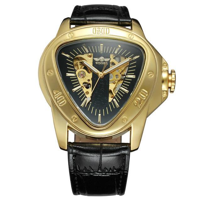 Kazanan moda yaratıcı üçgen yüzey klasik siyah altın üç pointer kemer erkekler kol saati